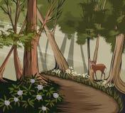 Forêt et cerfs communs illustration stock