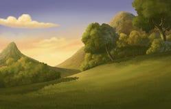 Forêt et coucher du soleil d'illustration beaux Photographie stock
