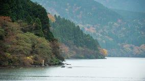 Forêt et lac colorés d'automne dans le jour rainny photos stock