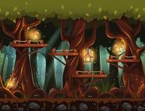 Forêt fabuleuse de nuit de fond avec des lanternes, des lucioles et des ponts en bois dans les arbres Photo libre de droits