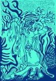 Forêt fantastique, découpe bleue, fond d'isolement de turquoise Images libres de droits