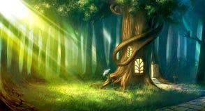 Forêt magique peinte par Digital avec la cabane dans un arbre mignonne de conte de fées Photos stock