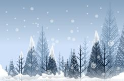 Forêt mystérieuse d'hiver illustration stock