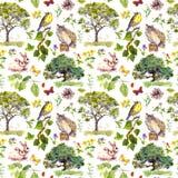 Forêt ou parc : oiseau, lapin, arbre, feuilles, fleurs et herbe Répétition de la configuration Couleur d'eau Photo stock