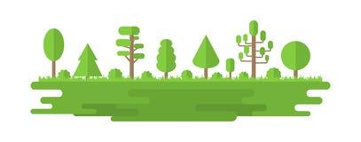 Forêt, parc, allée avec différents arbres Panorama de forêt d'été Concept d'écologie Illustration de vecteur d'isolement sur le b illustration de vecteur