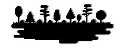 Forêt, parc, allée avec différents arbres Panorama noir de silhouette Illustration de vecteur d'isolement sur le fond blanc illustration de vecteur