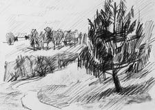 Forêt, peinture de crayon Image libre de droits