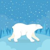 Forêt polaire de froid d'hiver d'ours blanc de bande dessinée Photographie stock libre de droits