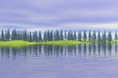 Forêt réfléchie sur le lac illustration de vecteur