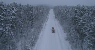 Forêt sibérienne d'hiver en Russie, taiga, transporteur de bois de construction banque de vidéos
