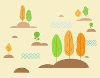 Forêt stylisée, vecteur de conception plate illustration libre de droits