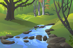 Forêt verte d'Amazone avec un flot illustration stock