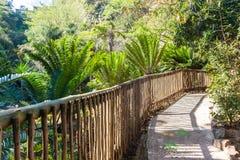 Fora cerca da madeira do trajeto de passeio do parque Imagens de Stock Royalty Free