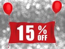 15% fora da bandeira no pano vermelho Fotografia de Stock