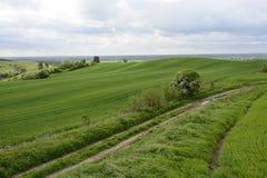 Fora da cidade - paisagem rural - um moinho de vento velho no campo Fotografia de Stock