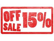 Fora da etiqueta do texto da venda 15% carimbe para o mercado super Imagens de Stock