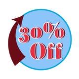 30% fora da etiqueta, ilustração lisa do vetor Foto de Stock Royalty Free