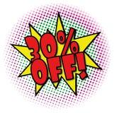 30% FORA da etiqueta retro do negócio do projeto da explosão cômica ilustração royalty free