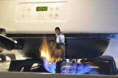 Fora da frigideira no fogo Imagem de Stock Royalty Free
