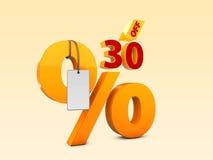 30 fora da ilustração da venda 3d da oferta especial Símbolo do preço de oferta do disconto Imagem de Stock Royalty Free