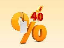 40 fora da ilustração da venda 3d da oferta especial Símbolo do preço de oferta do disconto Fotos de Stock