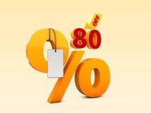 80 fora da ilustração da venda 3d da oferta especial Símbolo do preço de oferta do disconto Foto de Stock Royalty Free