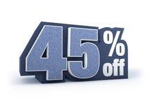 45% fora da sarja de Nimes denominou o sinal do preço com desconto Imagens de Stock