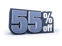 55% fora da sarja de Nimes denominou o sinal do preço com desconto Foto de Stock