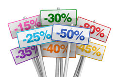 Fora da venda afixa a ilustração do conceito 3d Imagem de Stock Royalty Free