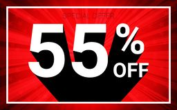 55% FORA da venda O texto branco da cor 3D e a sombra preta no fundo da explosão do vermelho projetam ilustração royalty free