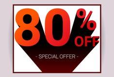 80% FORA da venda O texto da cor vermelha 3D e a sombra preta no fundo branco projetam ilustração royalty free