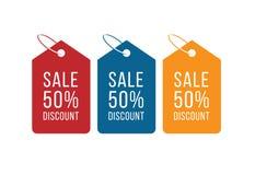 50 fora da venda para o negócio e a promoção Ilustração do vetor Ajuste de 3 etiquetas coloridas com desconto em cores azuis, ver ilustração do vetor