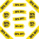 30% fora das etiquetas das vendas Fotografia de Stock Royalty Free
