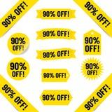 90% fora das etiquetas das vendas Fotografia de Stock Royalty Free