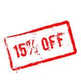 15% fora do carimbo de borracha vermelho isolado no branco Imagem de Stock Royalty Free
