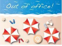 Fora do encabeçamento da praia das férias de verão do escritório Fotografia de Stock Royalty Free