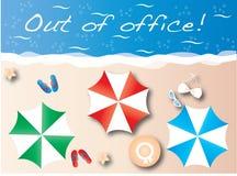 Fora do encabeçamento da praia das férias de verão do escritório Fotografia de Stock