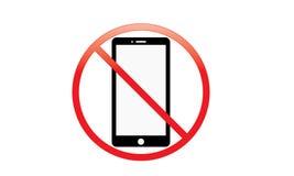 Fora do interruptor móvel do sinal fora do ícone do telefone nenhum símbolo de advertência móvel permitido telefone foto de stock royalty free