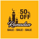 50% FORA do molde de ramadan Kareem Sale Banner Imagens de Stock Royalty Free