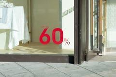 60 fora do sinal da venda Fotografia de Stock