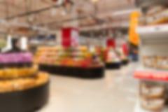 Fora do supermercado do foco imagens de stock