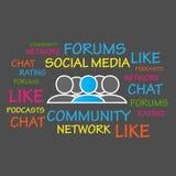 Fora gemenskap, socialt massmedia vektor illustrationer