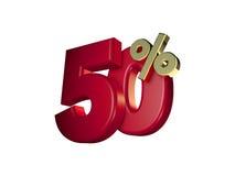 50% fora no vermelho e no ouro Foto de Stock Royalty Free