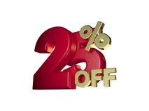 25% fora no vermelho e no ouro Fotografia de Stock Royalty Free