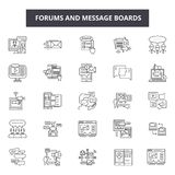 Fora och anslagstavlor fodrar symboler för rengöringsduk och mobil design Redigerbart slaglängdtecken Fora och översikt för ansla stock illustrationer