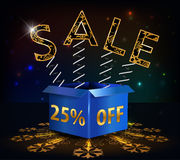 25% fora, venda quente do disconto de 25 vendas com mola da oferta especial e caixa Ilustração Royalty Free
