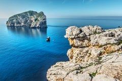 Foradada island in Capo Caccia Royalty Free Stock Image
