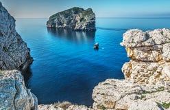 Foradada island and white rocks Royalty Free Stock Images