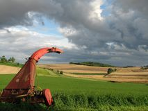Forage harvesters for silage of grass Stock Photo