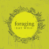 Foraging Wild Food Gathering Nature Friendly Sign Concept. Eco Friendly Nutrition Vector Design Element Sketch Style Royalty Free Stock Photos